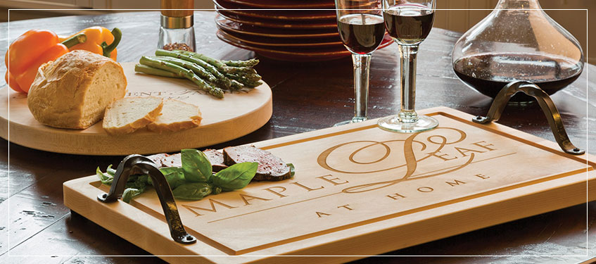 Maple Leaf Wooden Cutting Boards | Monogrammed Trays with Handles