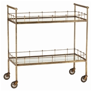 Arteriors Home Accessories Lisbon Bar Cart With Vintage Brass Finish In Yellow