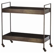 Arteriors Home Accessories Ponce Bar Cart With Antique Brass Finish In Yellow