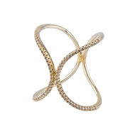 Be-Je Designs Pave Crystal Gold Swirl Ring