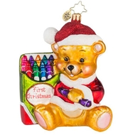 Christopher Radko Color Me Cute! Teddy Bear Baby Ornament