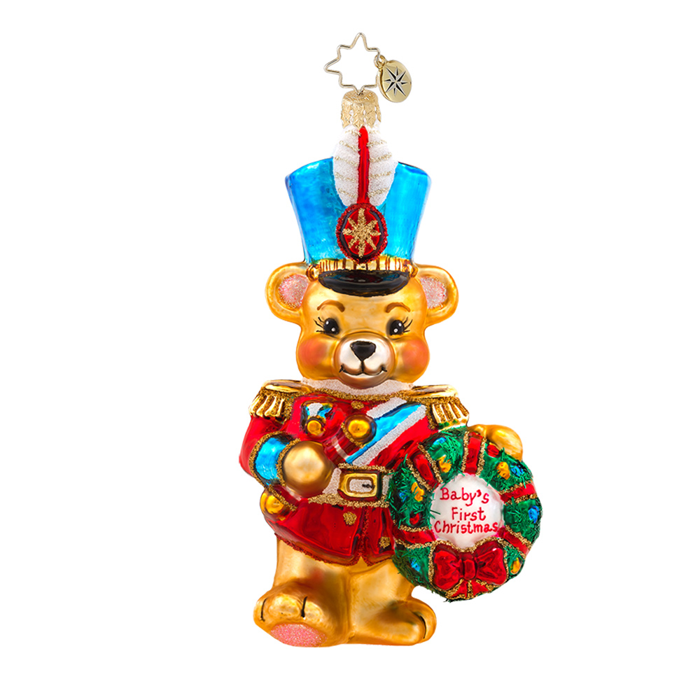 Baby ornament - Christopher Radko Marching Baby Bear First Ornament