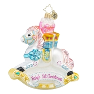 Christopher Radko Brilliant Treasure Rockin Newborn Babys First Christmas Ornament