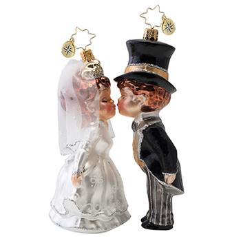 Christopher Radko 2016 Sealed With A Kiss Bride & Groom Ornament