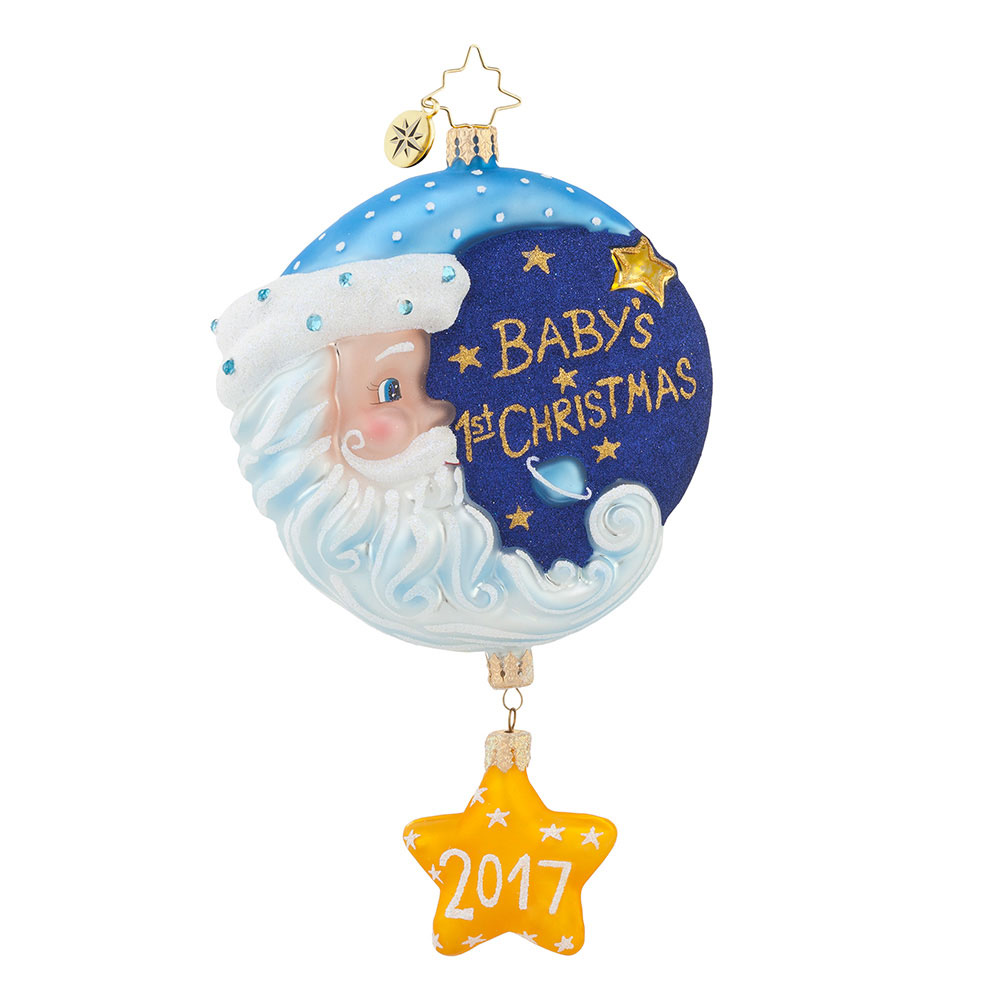 Baby ornament - Christopher Radko Sleepytime Santa Blue 2017 Dated Baby S First Christmas Ornament