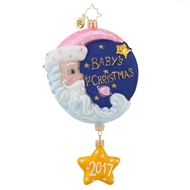 Christopher Radko Sleepytime Santa Pink Dated Babys First Christmas Ornament