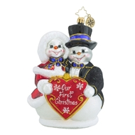 Christopher Radko Snowy Sweethearts 2016 Our First Christmas Wedding Ornament