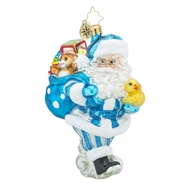 Christopher Radko Toyland Deliveries Blue Baby Boy Christmas Ornament