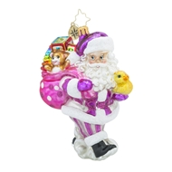 Christopher Radko Toyland Delivers Pink Baby Girl Christmas Ornament