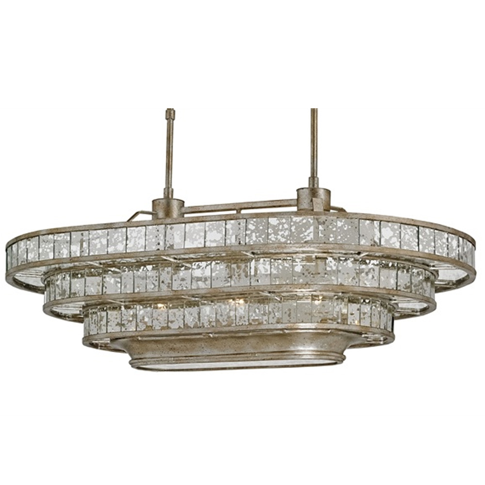 Currey Shade Frappe Oval Chandelier Company