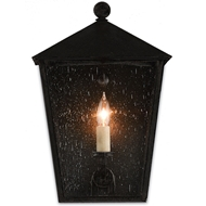 Currey & Co Bening Outdoor Wall Sconce - Midnight Finish