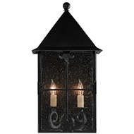 Currey & Co Faracy Outdoor Wall Sconce - Midnight Finish
