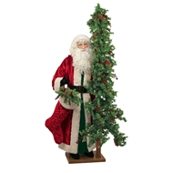 Ditz Designs Vintage Christmas Life Size Santa With Tree 11621