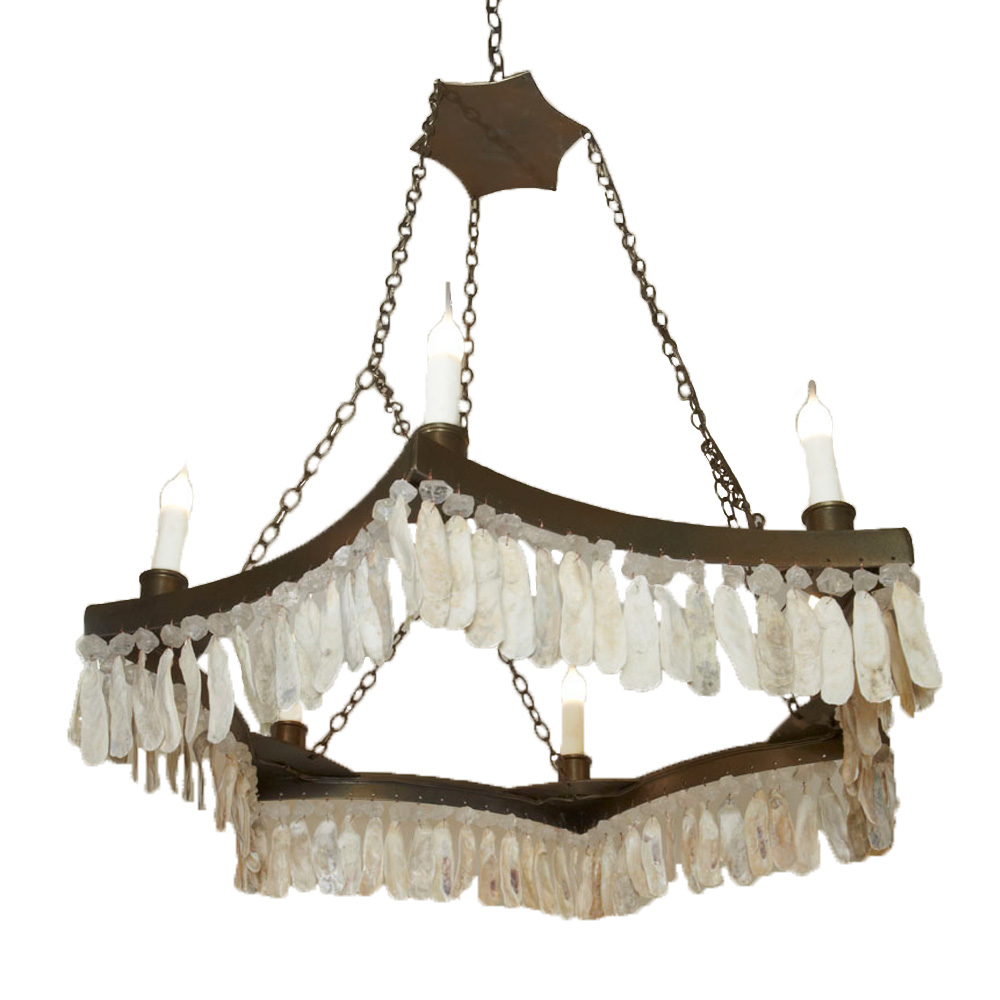 6 Point Crystal Shell Chandelier Made In Usa