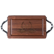 Maple Leaf Rectangular Walnut Cutting Board With Handles