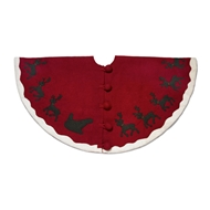 Arcadia Home Reindeer Felt Wool Tree Skirt