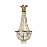 Aidan Gray Lighting Orleans Chandelier White L503-WHITE-CHAN-Wood Beads Metal