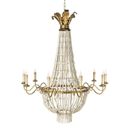 Aidan Gray Lighting Pommard Chandelier White L504-WHITE-CHAN-Wood Beads Metal