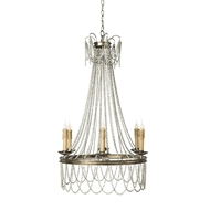 Aidan Gray Lighting Silver Amber Chandelier L581-CHAN-Wood Beads Metal