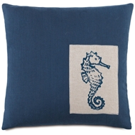 Eastern Accents Seahorse Pillows in Greer Linen 87% Cotton, 13% Rayon