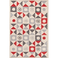 Jaipur Starburst Rug From Playful By Petit Collage Collection PBP01 - Ivory/Red