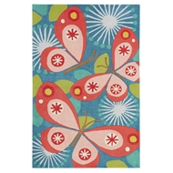 Jaipur Flutterby Rug From Iconic By Petit Collage Collection IBP08 - Blue/Pink