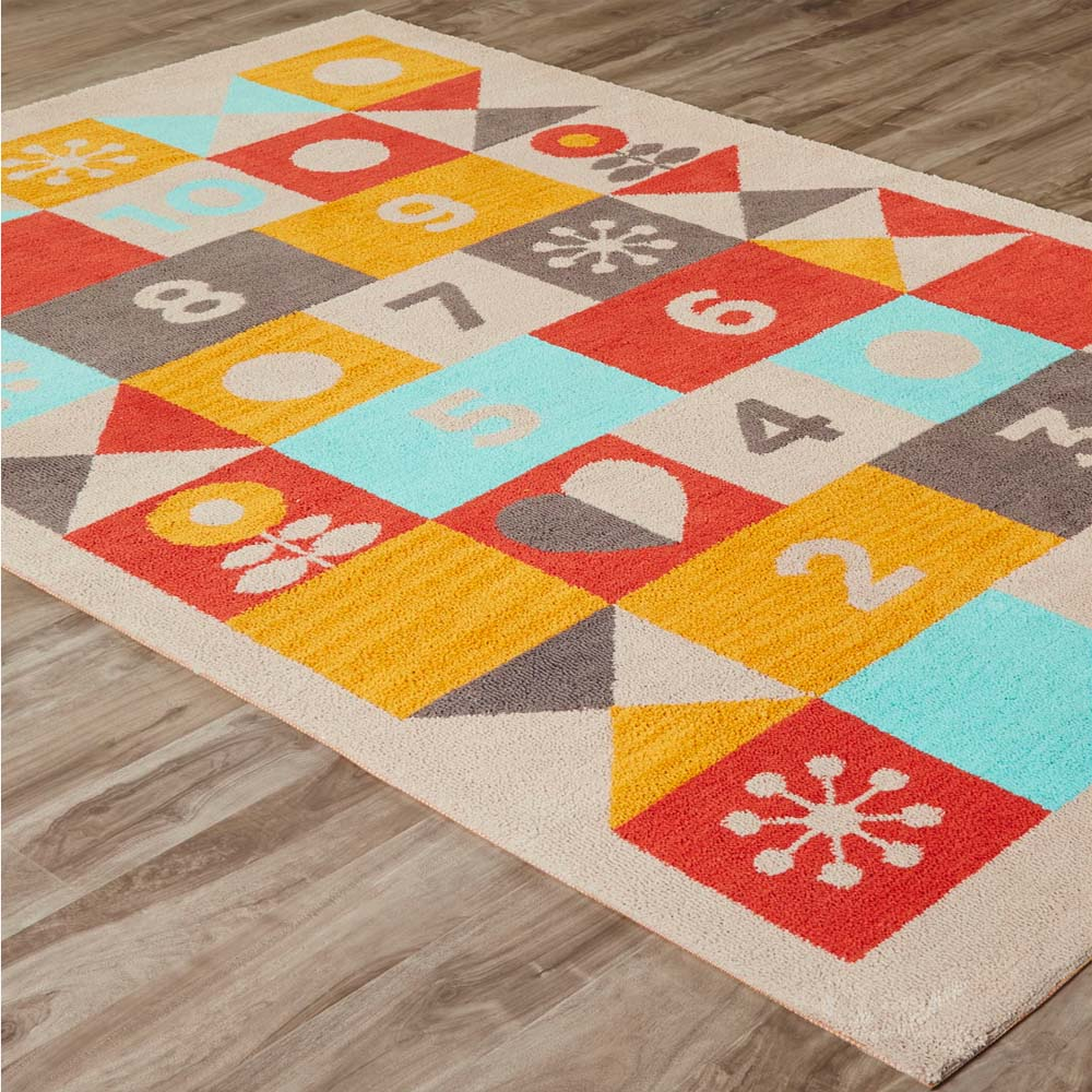 Jaipur Hopscotch Rug Iconic By Petit Collage Collection IBP03