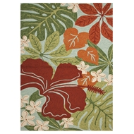 Jaipur Luau Rug From Coastal Lagoon Collection COL20 - Green/Red