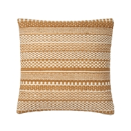 "Magnolia Home 22"" x 22"" Mikey Pillow Gold & Ivory - P1033 by Joanna Gaines"
