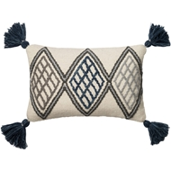 Magnolia Home by Joanna Gaines Blue & Ivory Pillow P0425 - Designer Pillow