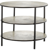 Currey & Company Home Cane Accent Table 4000-0013 Cast Aluminum