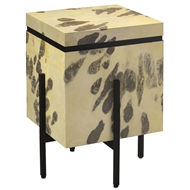 Currey & Company Home Karlson Side Table 3000-0031 Natural Vellum/Metal