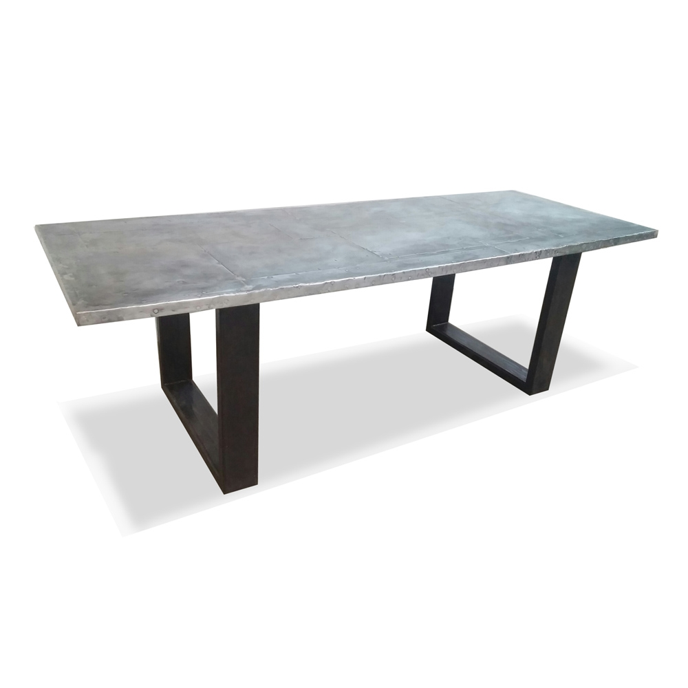 Regina Andrew Roscoe Zinc Dining Table - Stitched Top 44-64-0161