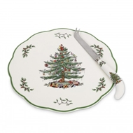 Spode Christmas Tree Appetizer Plate with Cheese Knife 1520752