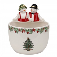 Spode Christmas Tree Mr. & Mrs. Snowman Candy Bowl 1603813