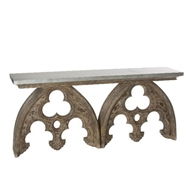 Aidan Gray Arched Cathedral Table with Tin Top