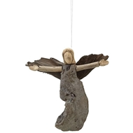 Creative Co-op Driftwood Angel with Carved Hands Ornament