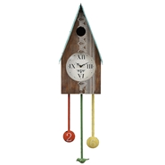 Creative Coop - Birdhouse Wall Clock Embossed Tin Roof