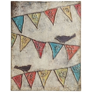 Creative Co-op Embossed Banner and Bird Wall Plaque