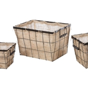Creative Co-op Burlap Wire Baskets (Set/3)