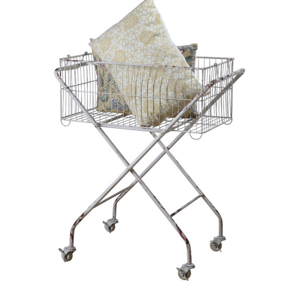 Creative Co op - Metal Basket with Wheels - Home Decor