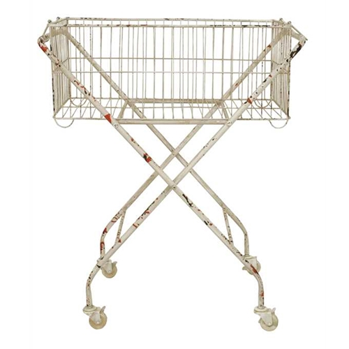 Creative Co op Metal Basket with Wheels