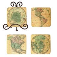 Creative Co-op Resin coasters with world map image with metal easel