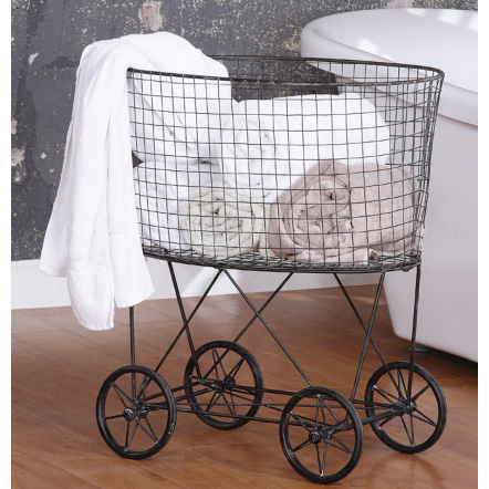 Creative Co op - Metal Vintage Laundry Basket - PLD Home Accessories
