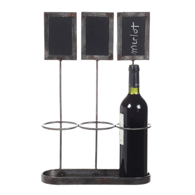 Metal Wine Bottle Holders w/ Chalkboards Creative Co-op