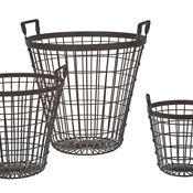 Creative Co-op Industrial Wire Basket (Set/3)