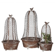 Creative Co-op - Bird Wire Planters with Wire Cloche