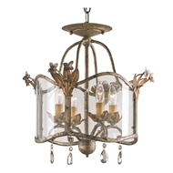 Currey Light Fixtures - 9979 Zara Flush Mount, Small - Wrought Iron/Glass/Crystal Chandeliers