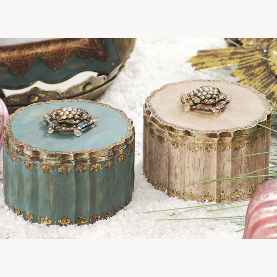 Resin Box with Crystal Jeweled Top Creative Coop