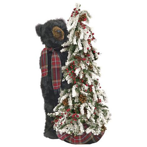 Ditz Designs - Frosted Tree Black Bear Plaid- Christmas Tree 70189